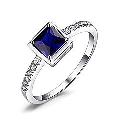 Idea Regalo - JewelryPalace Quadrata 0.9ct Sintetico Blu Zaffiro Solitario Anello 925 Sterling Argento