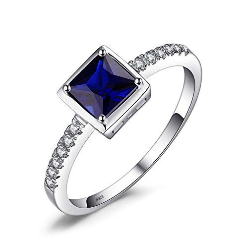 JewelryPalace Quadrata Sintetico Rubino Promessa Blu Zaffiro Verde Nano Russo Smeraldo Solitario Anello 925 Sterling Argento (14.5, Zaffiro)