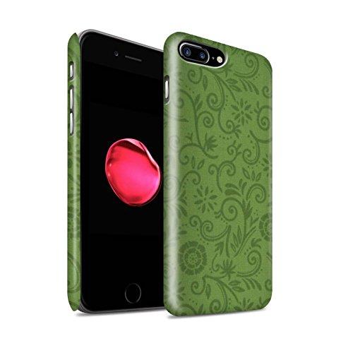 STUFF4 Matte Snap-On Hülle / Case für Apple iPhone 8 Plus / Red Flower Muster / Floral Strudel-Muster Kollektion Green Flower