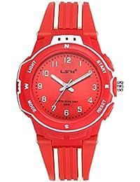Relojes para Niñas, Niños Impermeable Fácil de Leer Relojes de Pulsera con Correa Suave para Niñas (Rojo)
