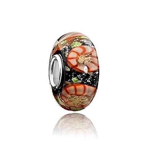 Murano Glass Beads with Glitter Black Slide Brown Materia - Gold Glitter Beads 925 Silver Murano Glas #1625