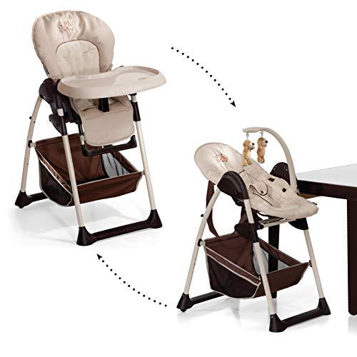 Hauck Sit'n Relax Newborn Set - Neugeborenen Aufsatz und Kinderhochstuhl ab Geburt, mit Liegefunktion / inkl. Spielbogen, Tisch, Rollen / höhenverstellbar, mitwachsend, klappbar, Zoo (Braun) -