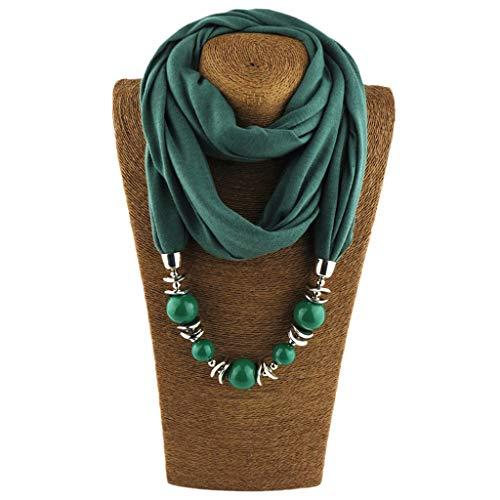 ZOOMY Frauen Halstuch Ring Schal Halsketten Perlen Einfarbig Schmuck Schal - Deep Green -