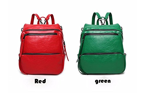 Mefly Moda Donna Zaino pelle Pu scuola di sacchi per ragazze adolescenti borse tracolla da viaggio zaino moto,argento red