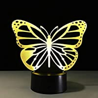 UCYG Night Light for Kids LED Night Light, Seven Color Butterfly 3D Optical Illusion Light, Boy Girl Sleep Light, Beautiful Desktop Decorative Gift Table Lamp (Edition : Remote control)