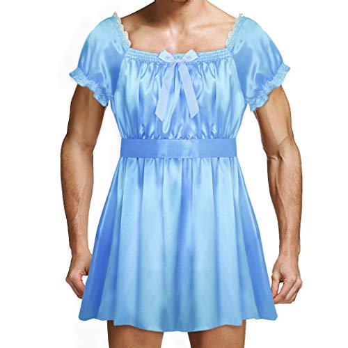 inhzoy Männer Dessous-Crossdresser Nachtkleid Herren Sissy Kleider Spitze Satin Dienstmädchen Maid Kostüm Outfit Cosplay Reizwäsche Blau XXL