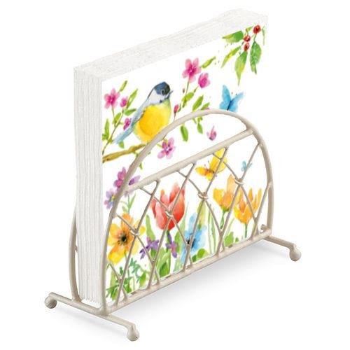 Vogel Schmetterling Blume Zweig 20 x 3-lagige Papierservietten & Creme Lattice Serviettenhalter Set - Serviettenhalter Vögel