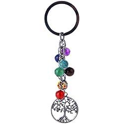 Dosige 1 Piezas Llavero de energía de siete chakras yoga Personalidad de la Moda Llavero Creativo Llavero Llavero para coche Plateado 10cm