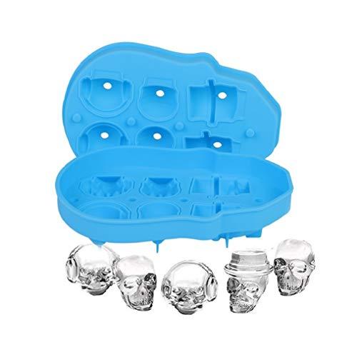 3D Totenkopf Eiswürfelform, Ice Cube Formen 6 Vivid Schädel, Lebensmittelqualität flexibel Silikon Ice Cube Maker für Whiskey EIS und Cocktails Saft Getränke, Blau