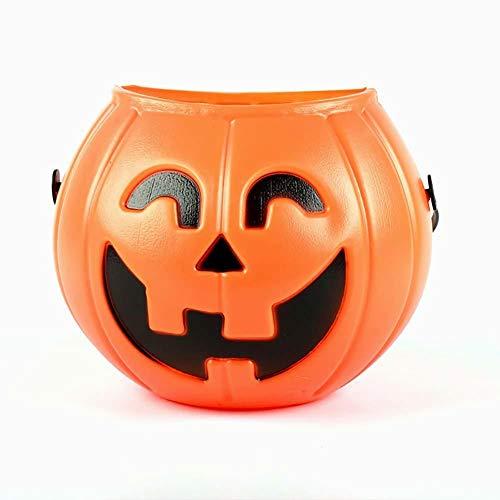 Hilai Halloween Kürbis Bonbons Eimer Tragbare Kürbis-Eimer Kinder Trick Behandeln Taschen Party Gefälligkeiten (Orange) 1pcs