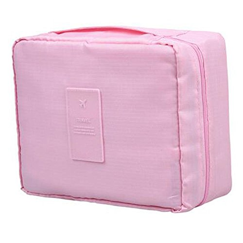 Pratique Nylon imperméable Portable Hanging Toiletry Bag Pliable Cosmetic Organizer Maquillage Sacoche Sac Wash pour Voyage Camping, Light Pink