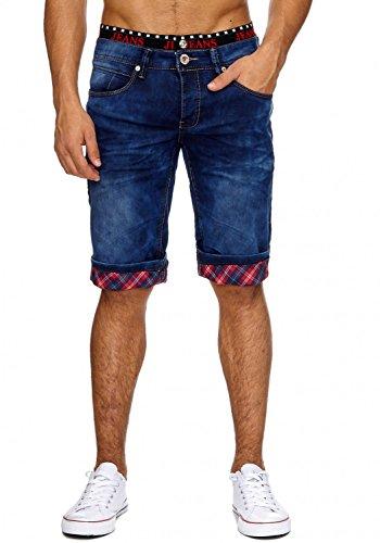 ArizonaShopping - Shorts Jaylvis Herren Jeans Shorts Used Washed Bermuda Hose Glen Check Karo Print H1862,Dunkelblau,W29