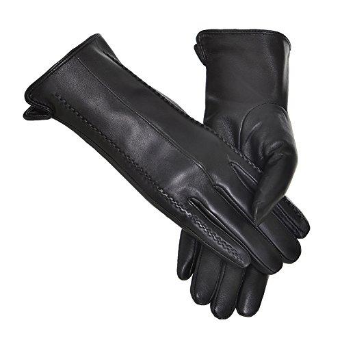 Damen Bellefur Fashionable Warme Echte Leder-Handschuhe Von Lammfell (Herbst Oder Winter) Schwarz