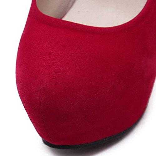 AalarDom Femme Tire à Talon Haut Rond Couleur Unie Chaussures Légeres Rouge-Suédé