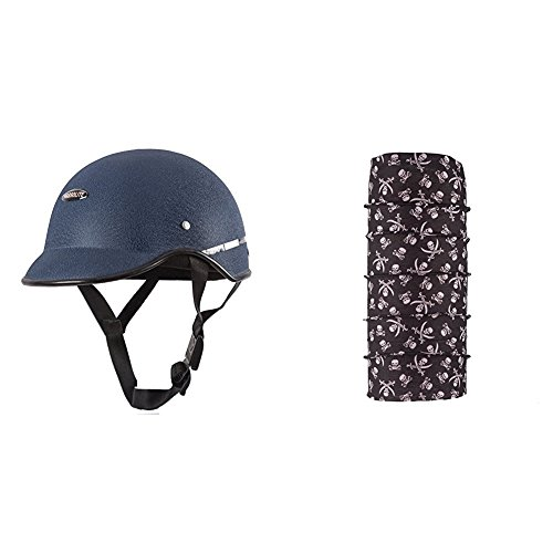 Autofy Habsolite All Purpose Safety Helmet with Strap (Blue, Free Size) and Autofy Pirate Skull Print Lycra Headwrap Bandana for Bikes (Black and White, Free Size) Bundle