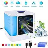 3 in1 Mini Luftkühler, Mobile Klimaanlage, Air Cooler, Abnehmbarer Wassertank, 3.5 Leistungsstufen und 7 LED-Lichtkonvertierungsmodi, sehr geeignet für Büro | Camping |zu Hause