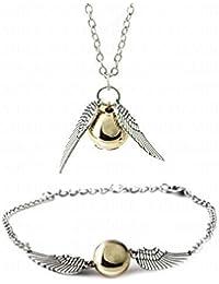 ChAmBer37plata Retro alas de ángel con dorado sintética Pearl–Collar & pulsera/tobillera Set
