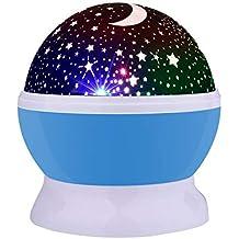 Lámpara de Noche,Sunvito Romántica Rotación de Estrellas Luna Cielo Proyector a Bebés Niños Dormitorios