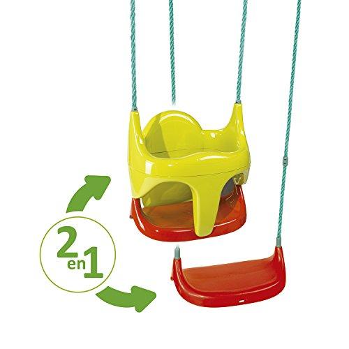 Smoby - 310194 - Jeu Plein Air - Balancoire Siège Bébé 2 En 1 - Raccord et Cordes Fournis