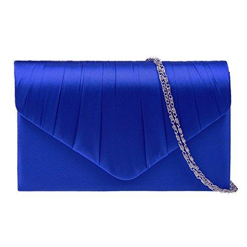 Zarla Borsetta da sera da donna in raso, a pieghe, per matrimoni o feste Blu (Blu cobalto)