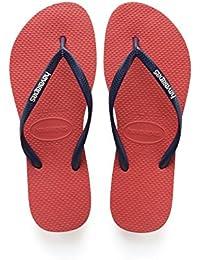 Havaianas Damen Slim Logo Zehentrenner Pink (Coralnew/Navy Blue) 43/44 EU (41/42 Brazilian)