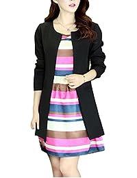 Blansdi Femmes Slim Long Trench Peplum Coat Veste Parka Outwear Tailleur  Jacket Blazer sans Revers 6a7389e097a