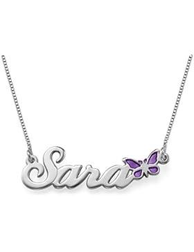 Namenskette aus 925er Silber mit Schmetterling - Personalisiert mit Ihrem eigenen Namen!