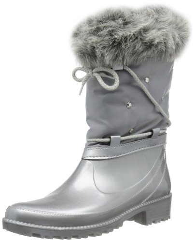 Lunar Women's Grey Rain and Snow Boots STARS