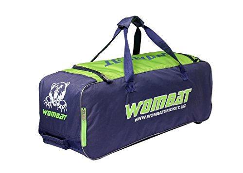 Wombat Polyester Blue Green Cricket KIT Bag with Wheel/Wheelie Cricket Bag Junior Wheelie Bag