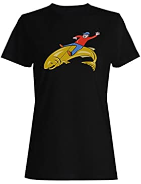 Pesca de salto de la trucha del montar a caballo camiseta de las mujeres rr78f