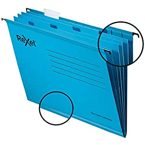 Rexel Classic Reinforced A4 Suspension File with Dividers, Recycled Card, Pack of 10, Blue, 2115595
