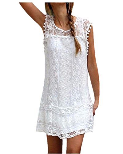 StyleDome Vestido Corto Casual Elegante Boda Playa Fiesta Noche Cóctel Encaje sin Mangas Mujer Blanco EU 48