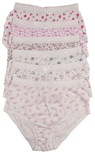cottonique Mujer 6 PARES DE Completo Algodón Calzoncillos en colores a elegir 36-54' Tallas Grandes - variados floral, 40-42' (12-14)