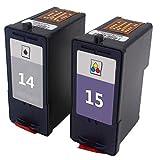 Teng® Compatible Cartouches d'encre d'Pour Lexmark 14/15 14XL 15XL pour Lexmark Z2300 Z2320 X2650 X2600 X2670 Imprimante (1 Noir,1 Tricolore)