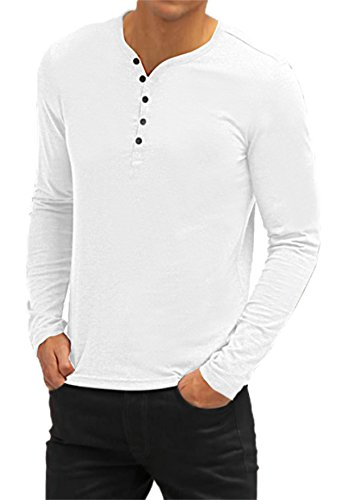 AIYINO Herren Casual T-Shirt mit V-Ausschnitt Kontrast 100% Baumwolle Cardigan (Small, Langarm-Weiß)
