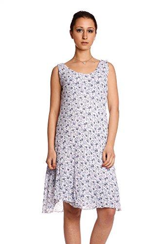 Abbino 18853 Sommerkleid mit Blümchen Damen Frauen Mädchen - Made in Italy - 6 Farben - Mode Übergang Frühling Sommer Herbst Stilvoll Damenkleider Feminin Süß Sexy Festlich Elegant Verkauf Weiß