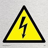 Viking Schilder we94-s85-ms Elektrische Warnung Symbol Zeichen, marine Grade Edelstahl, 85mm H x 85mm w