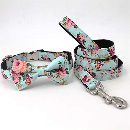 MRyezi Mode Blume Hund Bowtie Hundehalsband passenden Blei für 5size zu wählen, Haustier (Color : Collar Leash Bow, Size : XL (43 66cm))