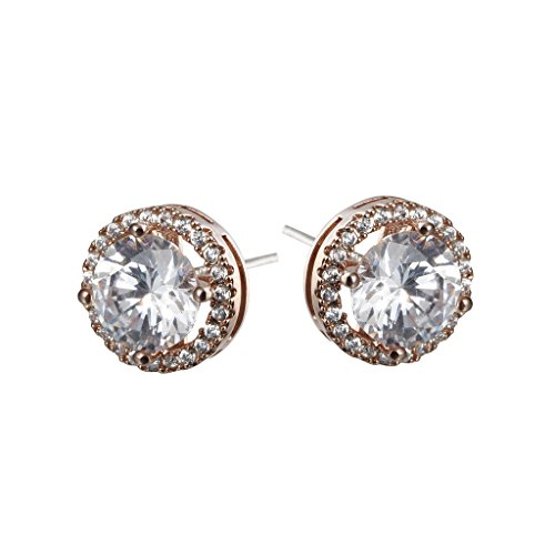 Platinum And Rose Gold Plated Sparkling Round Cubic Zirconia CZ 10mm Halo Stud Earrings With Silver Post.