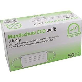 50 Stück Mundschutz Eco 3-lagig mit Nasenbügel mit Ohrenschlaufen TYP I von Medi-Inn (weiß)