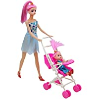 Momongel Kids Toy Play House Plastic Dismountable Stroller for Barbie Doll Accessories