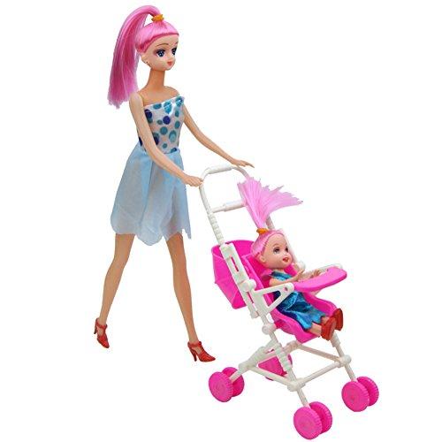 AchidistviQ Kinder Spielhaus Kunststoff zerlegbar Kinderwagen für Barbie -