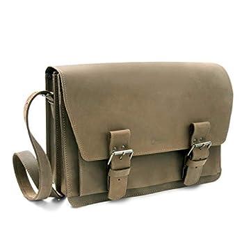 Made in Germany Umhängetasche – Messenger Bag Prague aus braunem old antik Leder inkl. BIO-Lederpflege von THIELMANN
