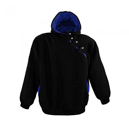 Kapuzen Sweatshirt von Lavecchia in Übergröße mit aufwendiger Knopfleiste von 3XL bis 8XL Schwarz