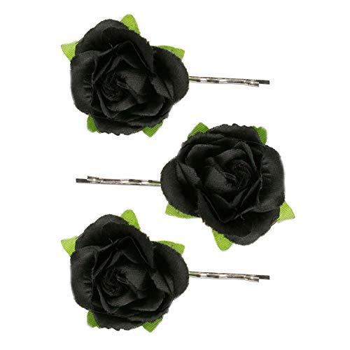 Alpenflüstern Trachten-Haarklammern Rosen-Blüten 3er-Set schwarz ADV110