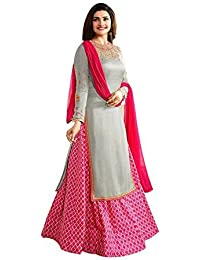 Skyblue Fashion Women's Grey Pink Satin Silk & Banglori Silk Printed Lehga Semi-stitched Salwar Suit