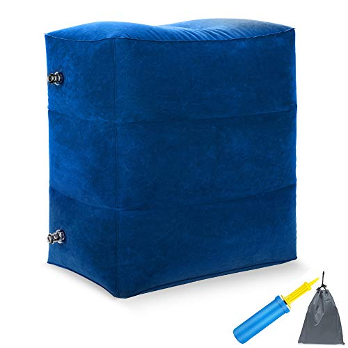 Fußstütze Kissen für Flugreisen,aufblasbare Flugzeug Kissen Tragbare Inflatable mit Doppelhand -Pumpe verstellbare Ebenen Höhe Kissen für Fußruhe in,Autos,Züge,Bürokinder zum Schlafen Blue 1 Pack