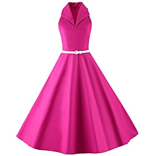 YouPue Rétro Robes Années 50s Style Swing Plissé Robe de Soirée Vintage Cocktail pour Robe Rose Rouge