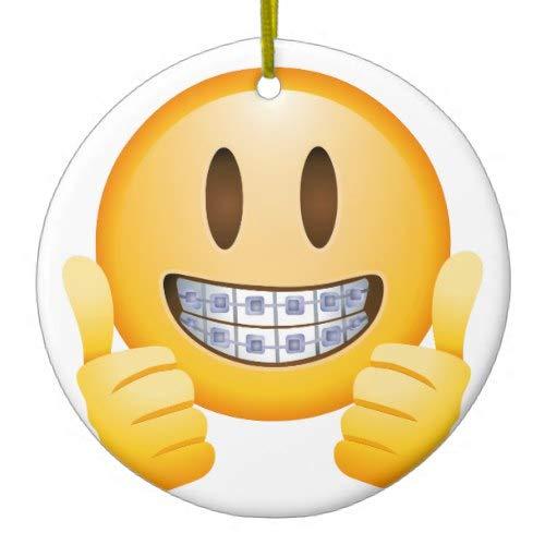Tiukiu Geeky Braces Emoji Ceramic Ornament Keepsake Gift Idea