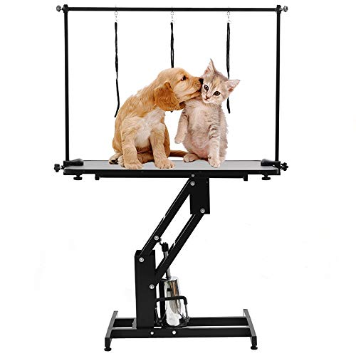 Lifelook XL Verstellbar Trimmtisch Schertisch hydraulisch inkl. Galgen Hundepflege für Hund und Katze Bad Haustier Pflegetisch mit 3 Schlinge,110x61x57~101 cm
